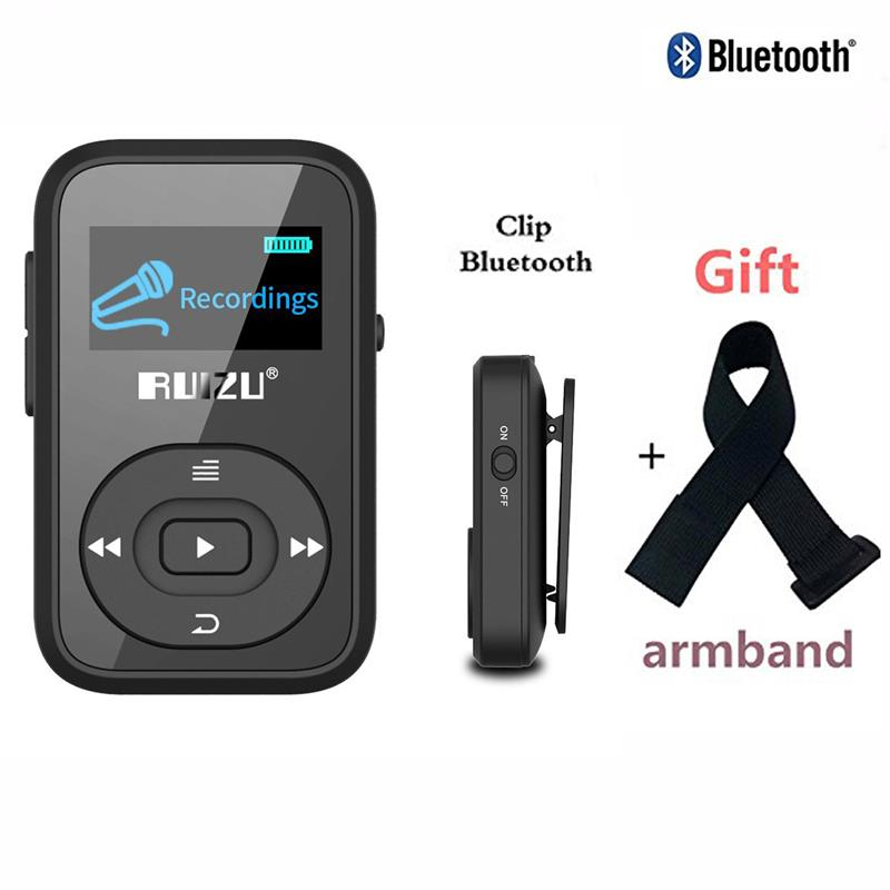 RUIZU X26 Clip Bluetooth Reproductor de MP3 8GB 1.1 '' Sport Bluetooth reproductor de música mp3 Grabadora de voz Radio FM Compatible con tarjeta SD + brazalete