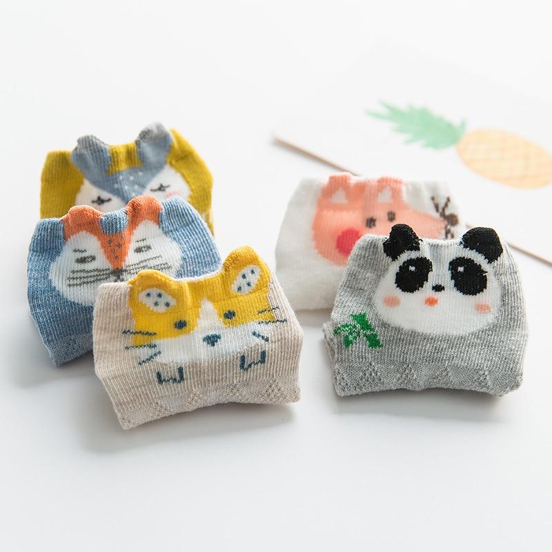 2019 Spring Summer Kids Baby Mesh Socks Set 5pair Children Boys Girls Cotton Short Sock Cute Fox Rabbit Kids Fashion Socks