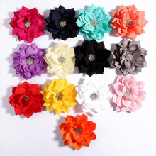 """10pcs/lot 3.6"""" 13colors Lotus Leaf Flowers With Rhinestone Button For Hair Accessories Fabric Flowers For Headband Hair clip"""