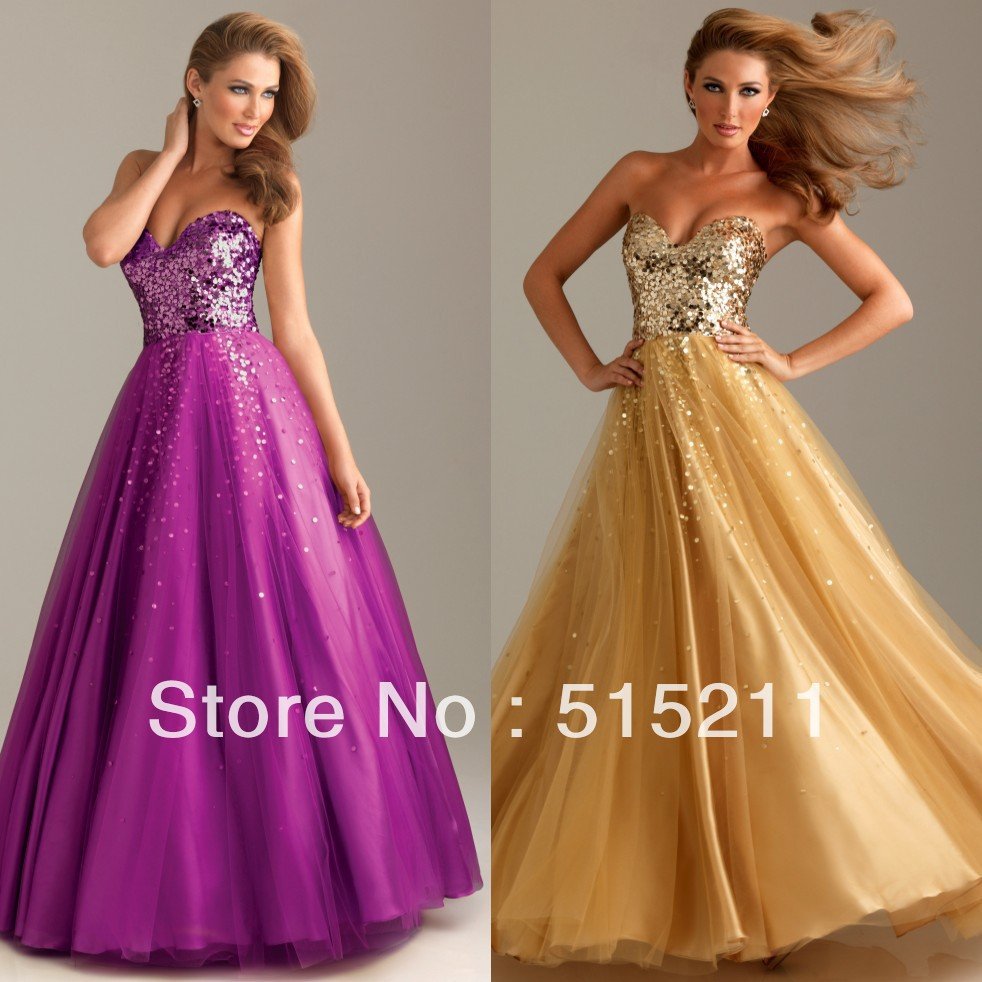 Free Shipping 2017 Elegant Gold Sequin Sweetheart Purple Ball Gown Prom Dresses Formal Evening Party Dress In From Weddings Events On
