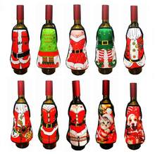 Mini Wine Bottle Cover Christmas Sexy Lady/Xmas Dog/Santa Pinafore red wine bottle wrapper Holiday Bottle clothes Dress(China)