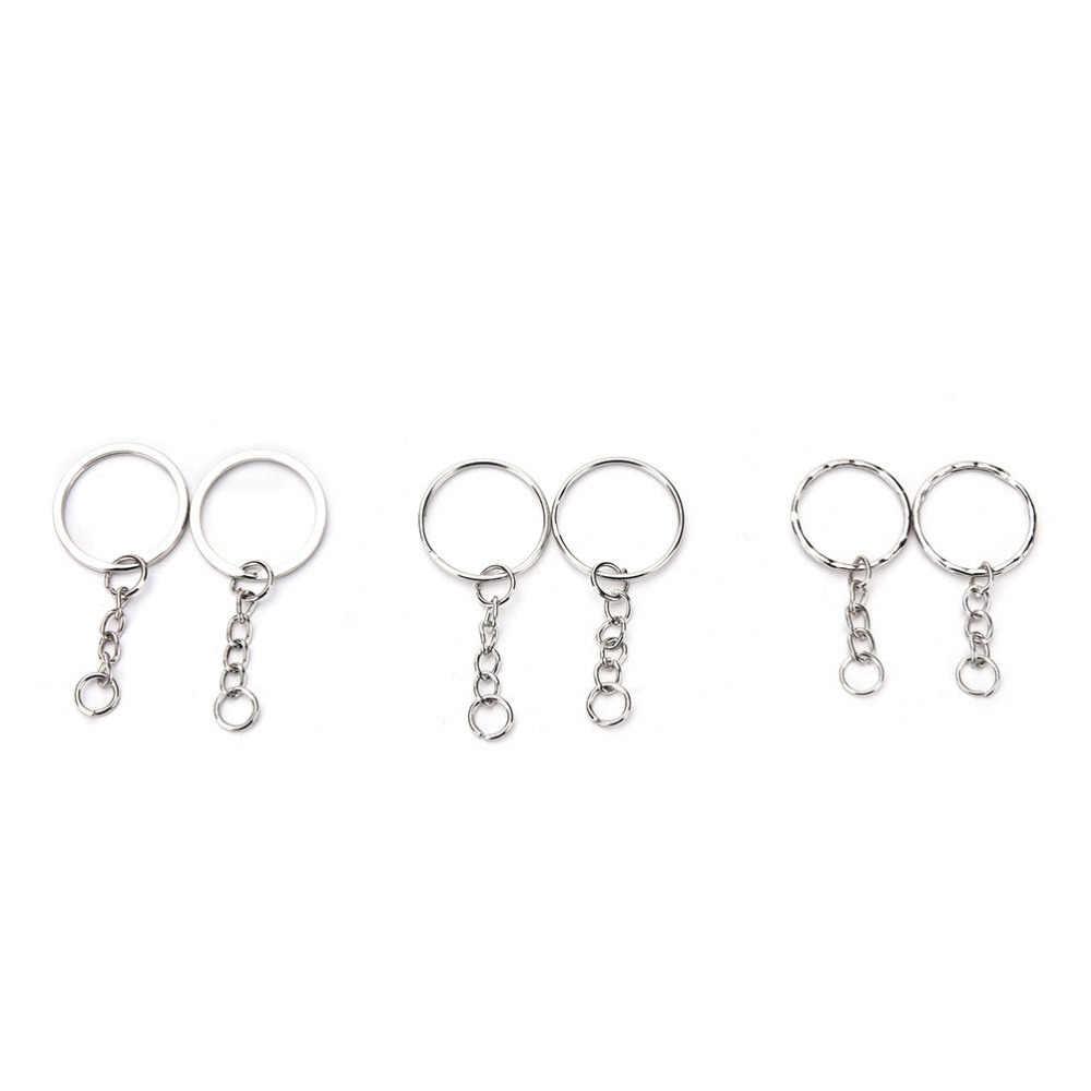 100 Pcs/set Perak Gantungan Kunci Stainless Alloy Lingkaran DIY 25 Mm Gantungan Kunci Perhiasan Gantungan Kunci Gantungan Kunci Perhiasan Gantungan Kunci Gantungan Kunci