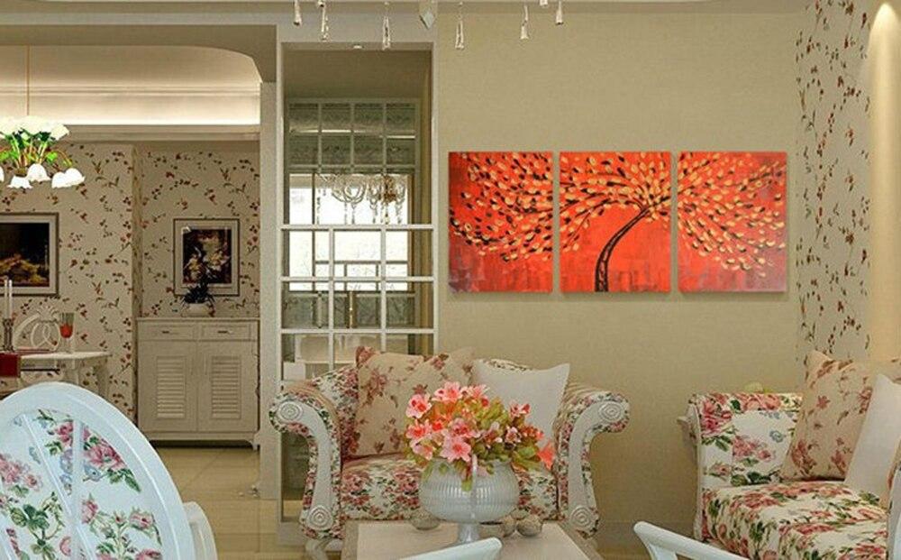 Картина на холсте tWall Art 3 панели художественный декор, Современная абстракция фон Золотые листья картина маслом украшение стены для гостино... - 2