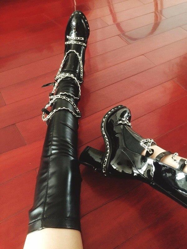 Maneras Estrella Invierno Otoño Boots black Fresco Tacón Modelos 2017 Espesor Cadena Long De Alto Estilo E Dos Con Botas Usar Botines Negro Metal Nuevo Largas wqBtXUY
