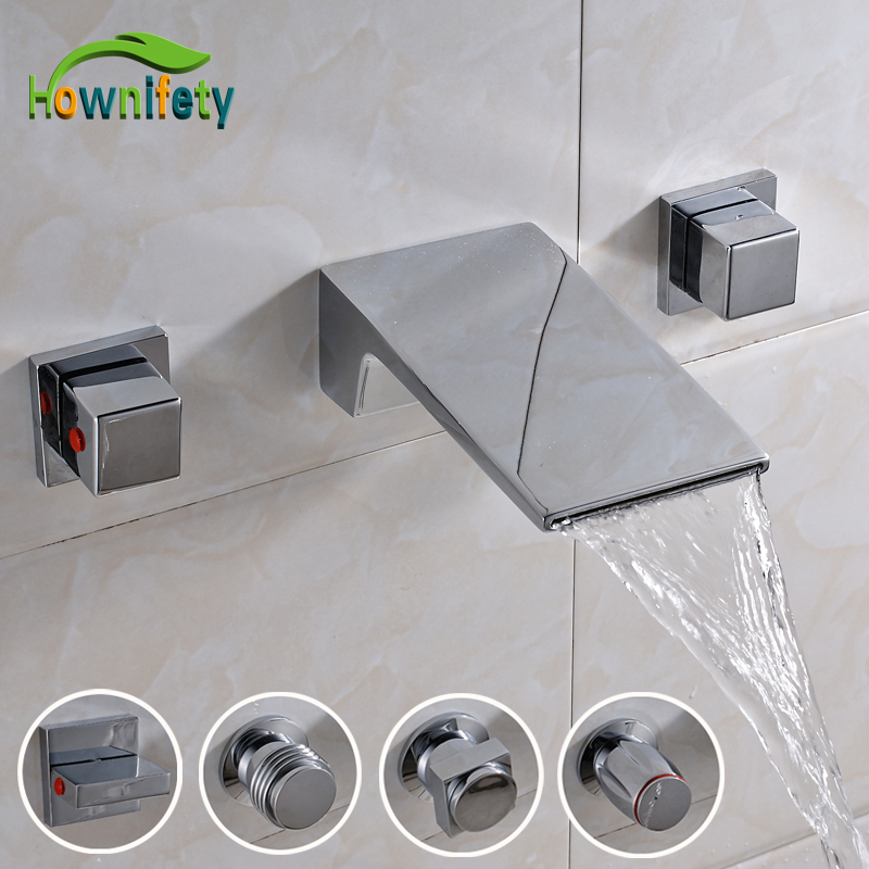 Chrome Polished Solid Brass Bathroom Sink Faucet Tub Faucet Dual Handles Mixer Tap Wall Mounted chrome polished wall mounted bathroom sink tub faucet hot and cold water mixer tap