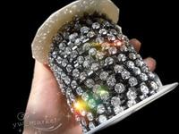 SS28 6mm Crystal Clear Rhinestone Chain Trim Black sew on 10 yard