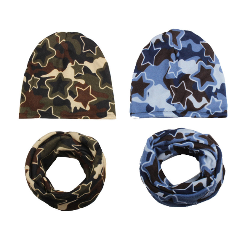 Camo baby girl hat Boy cap Baby Caps and Hats children cotton scarf-collar autumn winter infant hat sets for 0 to 4 years