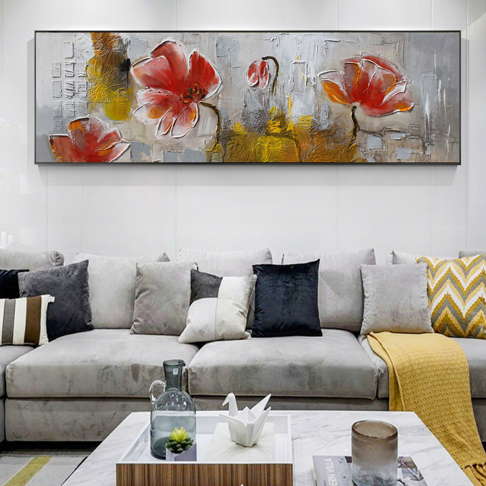 60x180cm-Abstract Flowers Oil Paintings Print On Canvas Wall Posters And Prints Modern Flowers Canvas Prints For Bed Room Decor
