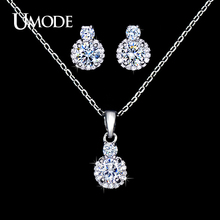 UMODE Wholesale 1 Pair Fashion Stud Earrings & 1pcs Link Chain Pendant Necklace AAA CZ  Jewelry Sets For Women AUS0027