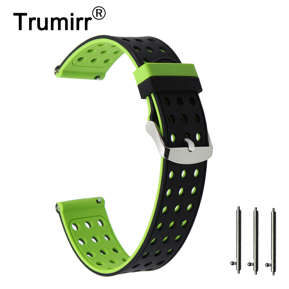 18mm Double Color Rubber Silicon Watchband Quick Release Bracelet Belt for LG Watch Style Wrist Stainless Steel Buckle Strap survival bracelet hand ring strap weave paracord buckle emergency quick release for outdoors