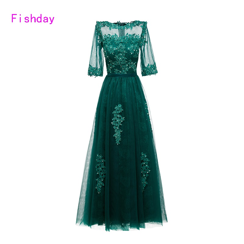 Fishday Evening Dresses A line Mint Emerald Green Lace Tulle Beaded Formal Long Appliques special occasion With Half Sleeve B45