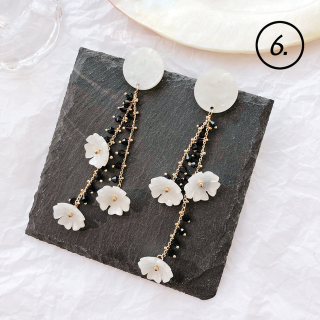 2018 Simple New Fashion Women Accessories Bohemia Mori Girl Shell Lace Geometric Drop Earrings for Girl Student Part Jewelry