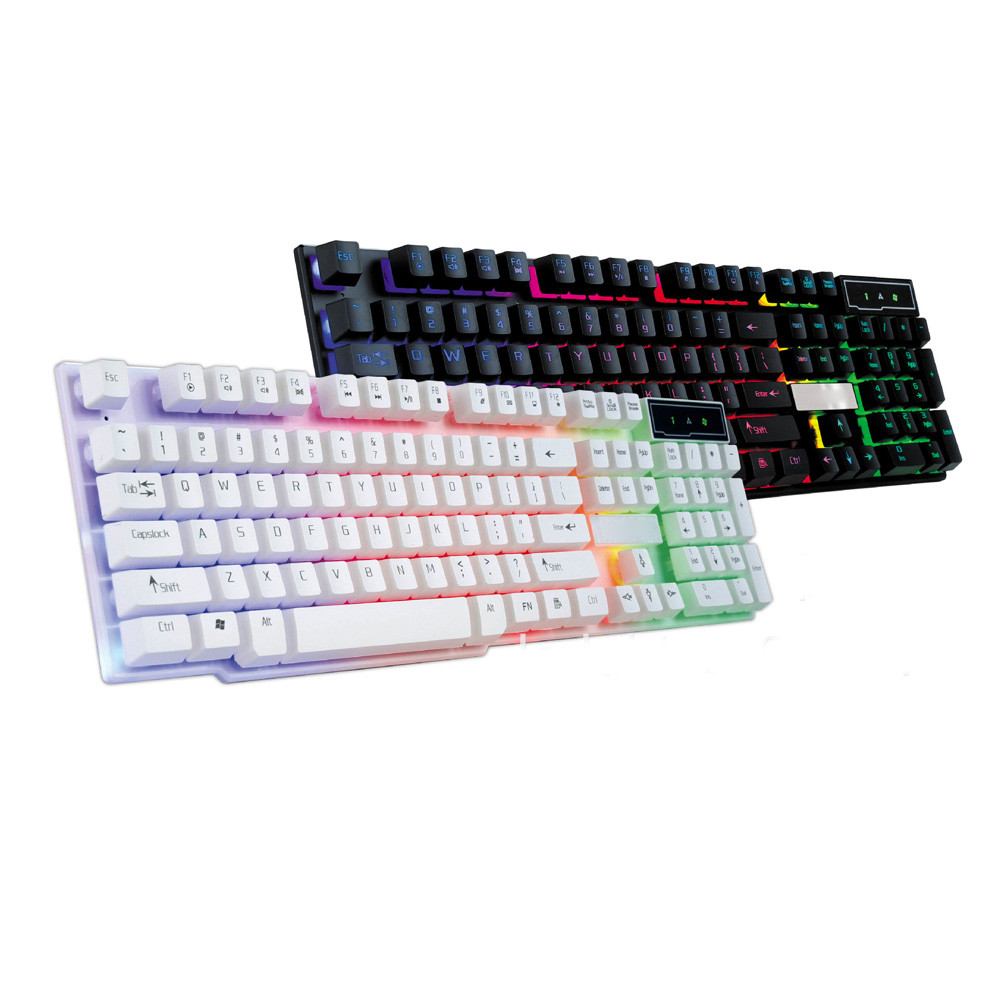 Yangmaile Waterproof Keyboard Gaming Wired LED Backlit Multimedia Ergonomics Mechanical Feel PC Rainbow Colorful Crack Z7