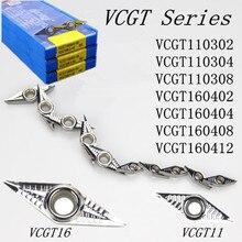 10 stks/set VCGT160402/VCGT160404/VCGT16040208 AK H01 Carbide insert aluminium insert cnc draaibank tool insert SVJCR/SVVCN
