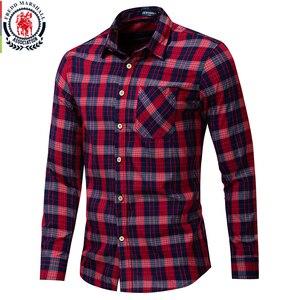 Image 1 - Fredd MARSHALL 2019 ใหม่แฟชั่นลายสก๊อตชายเสื้อลำลองแขนยาวSLIM FITเสื้อกับกระเป๋าผ้าฝ้าย 100% คุณภาพสูง 198