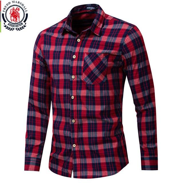 Fredd Marshall 2019 جديد الموضة منقوشة قميص الرجال عادية كم طويل سليم قمصان مناسبة مع جيب 100% القطن عالية الجودة 198