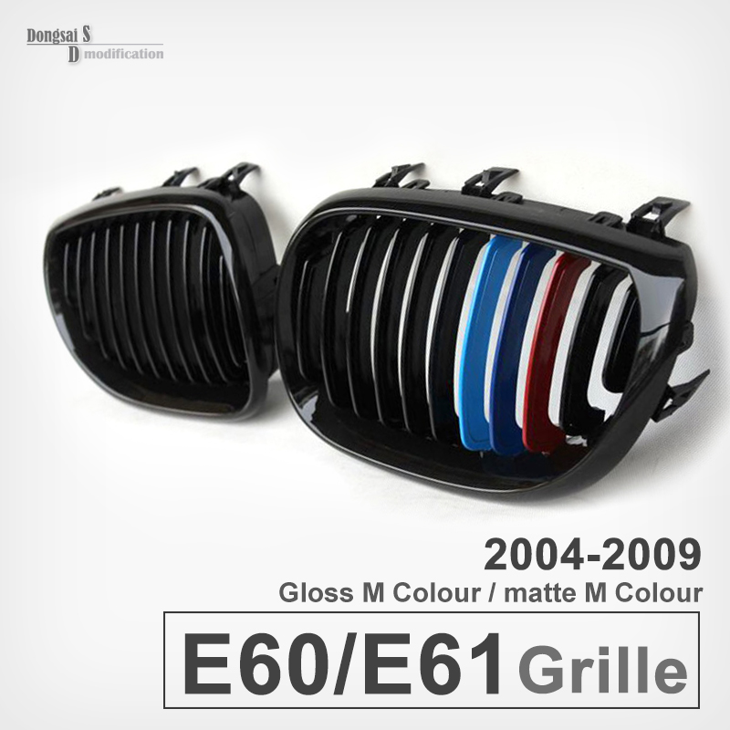 A Pair of Front  glossy  Black  M color Wide Kidney Grille Grill For BMW 5 series E60 525li 530i 523 528i 520i 2004-2009 2016 new a pair front grilles left and right double line grille gloss black front grills for bmw 3 series e46 2002 2004 4 door