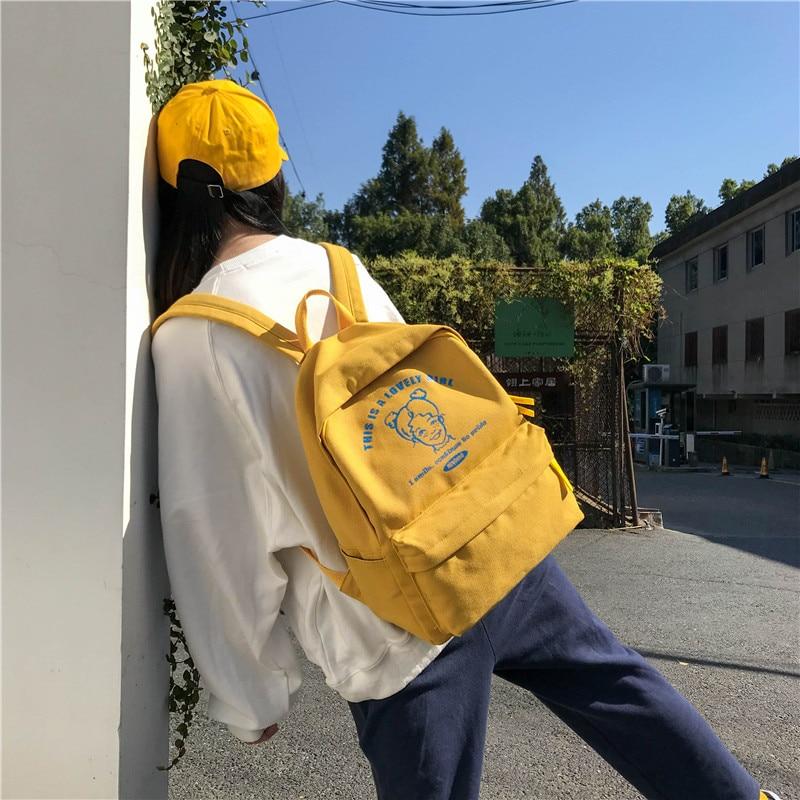 Image 5 - Menghuo Preppy Style Women Backpack for School Teenager Girls School Bag Ladies Canvas Fabric Backpack Female Bookbag Mochilas-in Backpacks from Luggage & Bags