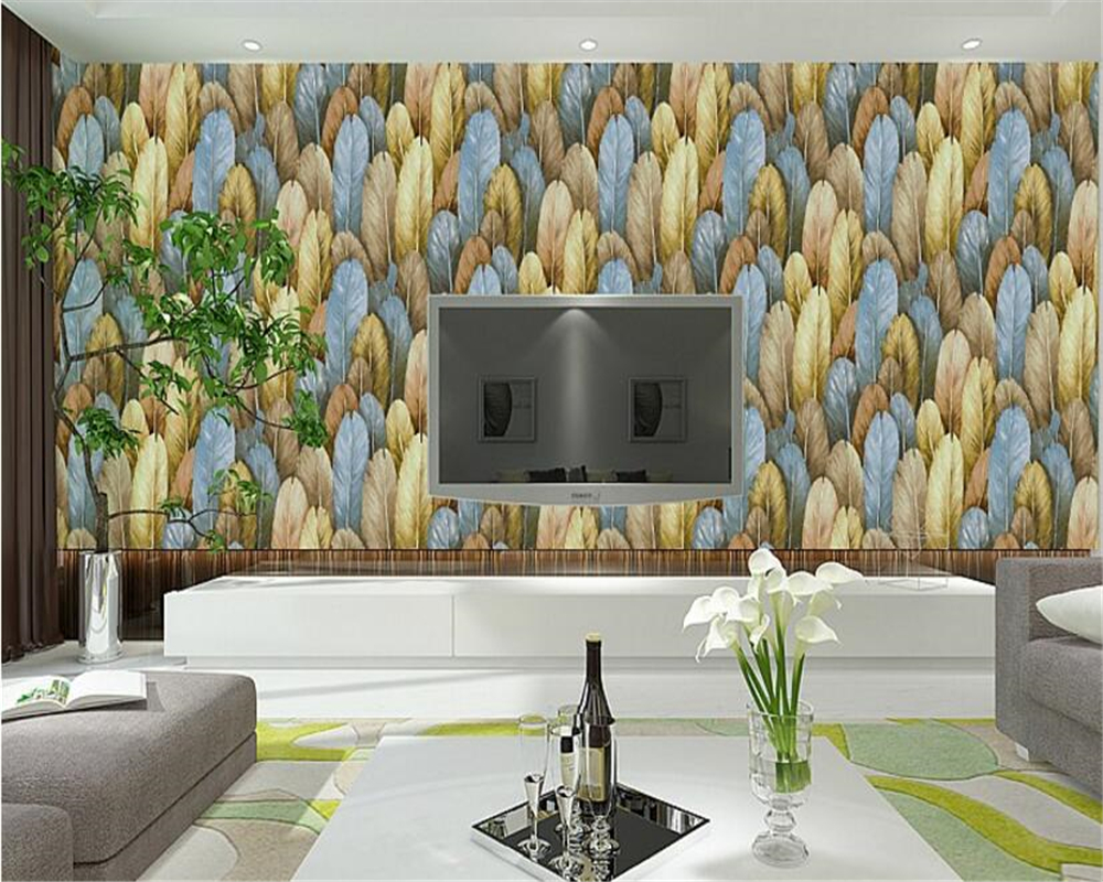 цены beibehang Southeast Asian style personality fashion color feather wall paper Nordic minimalist TV background 3d wallpaper behang