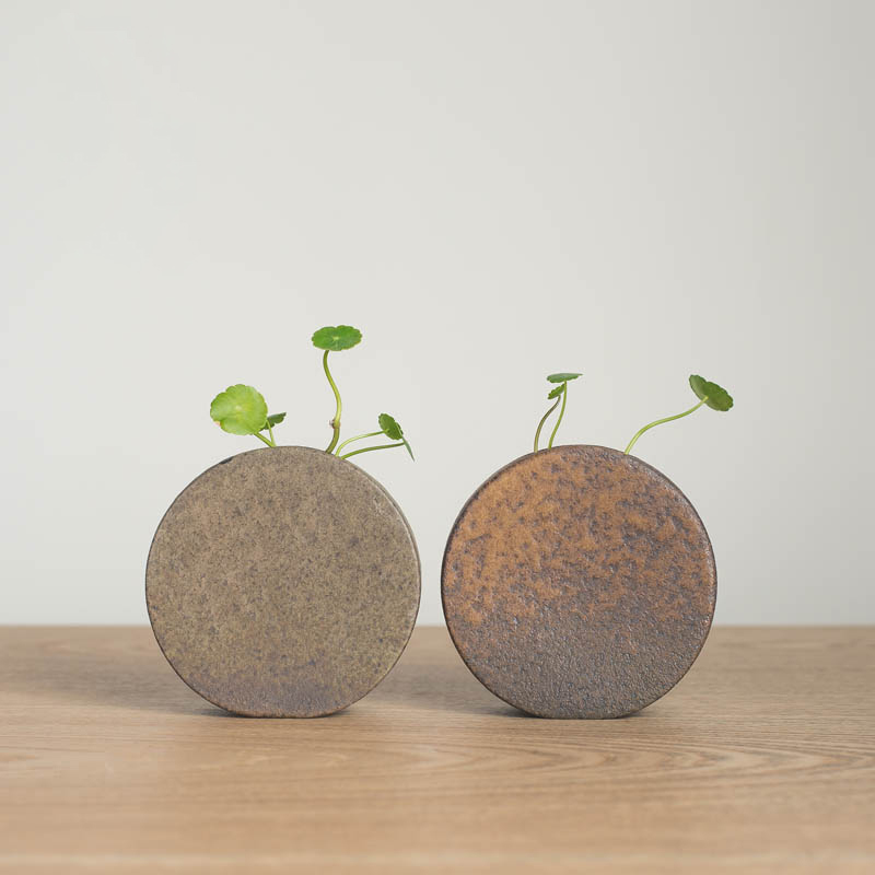 225 & Modern Glazed surface ceramic vase Japanese Zen Round Mini flower vase Handmade Crafts vases Creative Gift home OfficeDecoration