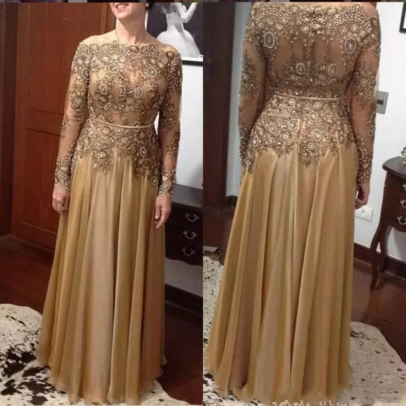 Gold Mother Of The Bride Dresses For Weddings Beaded A-Line Lace Bead 2019 Plus Size Chiffon Floor-length Zipper Back Formal