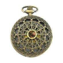 Steampunk Unisex Retro Antique Bronze Pocket Watch Quartz Clock Necklace Pendant For Women Men LXH