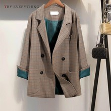 Brown Plaid Blazer Women 2019 Long Double Breasted Blazers Sleeve Casual And Jackets Ladies