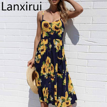 Lanxirui Dress New High Quality Sexy Printing Buttons Off Shoulder Sleeveless V -Neck Princess Women Feb16