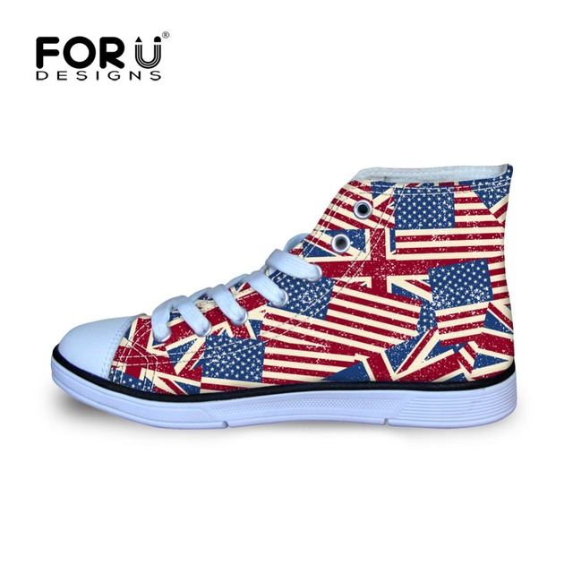 Children American Flag Waliking Sneakers Retro Poster Design Printing Kids Outdoor High Top Canvas Shoes For Boys And Girls