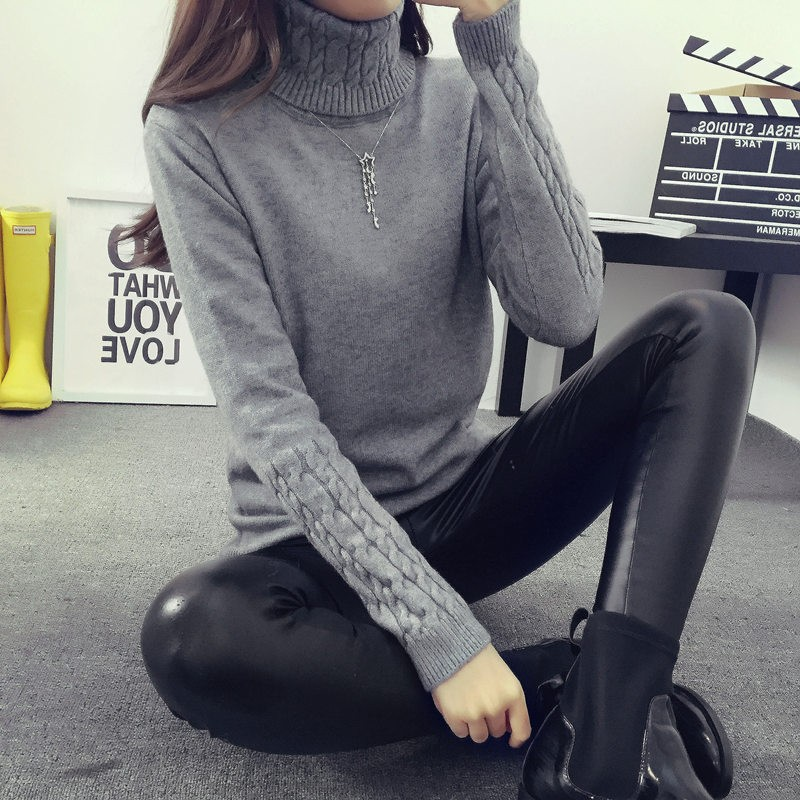 2019 Hot Autumn Winter Women Sweaters And Pullovers Fashion Turtleneck Sweater Women Twisted Thickening Slim Pullover Sweater