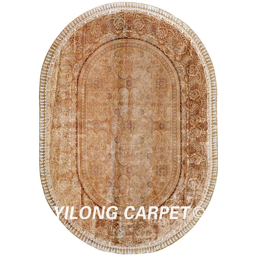 yilong hereke oval oriental rug antique beige turkish persian silk carpet