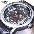 A Estrenar! Lujo Esqueleto Negro Reloj Mecánico Transparente Steampunk Reloj de cuero de Los Hombres Automáticos de auto-viento Reloj Del Relogio