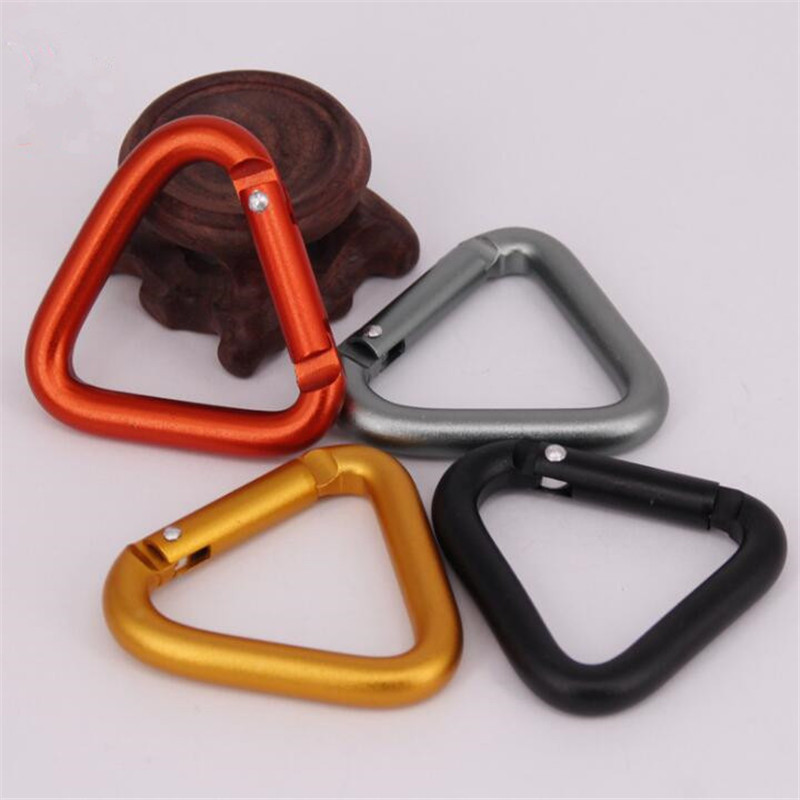 5pcs High quality triangular carabiner snap spring clips hook Sport Buckle Keychain Outdoor Camping Hiking Accessories