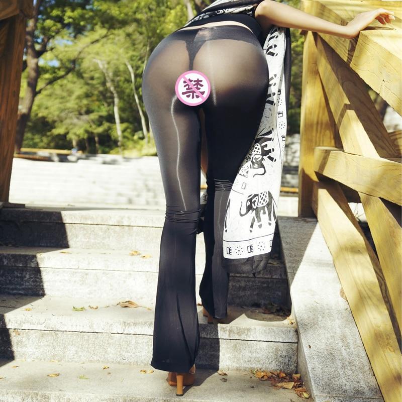 Ultra Thin Transparent Women Leggings Sexy See Through Pants For Ladies Erotic Lingerie Club Wear Female NightClub Stretch Pants