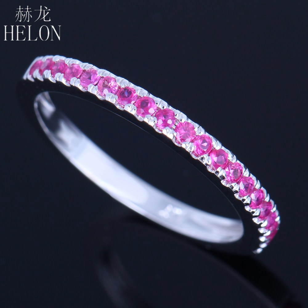 HELON Solid 14k 585 White Gold 0 4CT Genuine Pink Sapphire Trendy Jewelry Ring Engagement Wedding