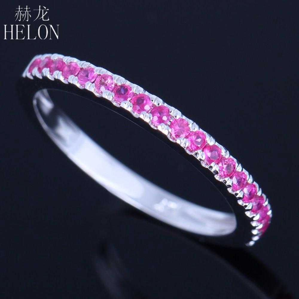 HELON Solid 14k (585) White Gold 0.4CT Genuine Pink Sapphire Trendy Jewelry Ring Engagement Wedding Anniversary Women Fine Ring