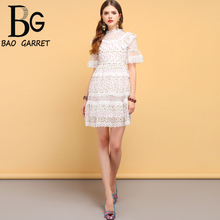 Baogarret Fashion Designer Summer Dress Womens Lace Ruffles Floral Embroidery Elegant Vintage Vacation Ladies Mini Dresses