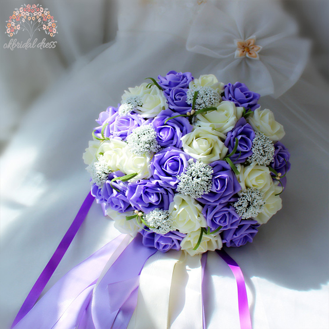 2016 Purple and White Wedding Bouquet Handmade Artificial Flower Rose buque casamento Bridal Bouquet for Wedding Decoration