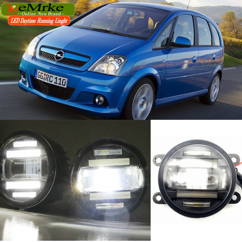 eeMrke Car Styling For Opel Meriva OPC 2003-2009 2 in 1 LED Fog Light Lamp DRL With Lens Daytime Running Lights eemrke car styling for opel zafira opc 2005 2011 2 in 1 led fog light lamp drl with lens daytime running lights