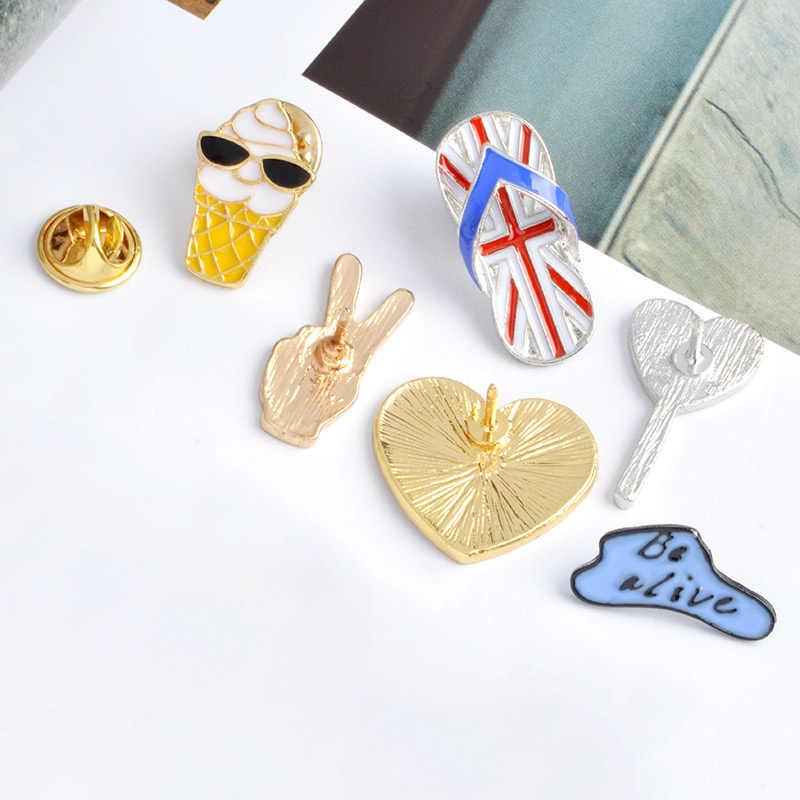 Kartun Balon Awan Jantung Wajah Senyum Ice Cream Sandal Bros Logam Enamel Pin Tombol Tas Jaket Kerah Lencana Perhiasan