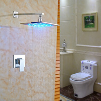 Solid Brass Bathroom Shower Faucet Sets 8 LED Rainfall Shower Head Single Hand Cold And Hot