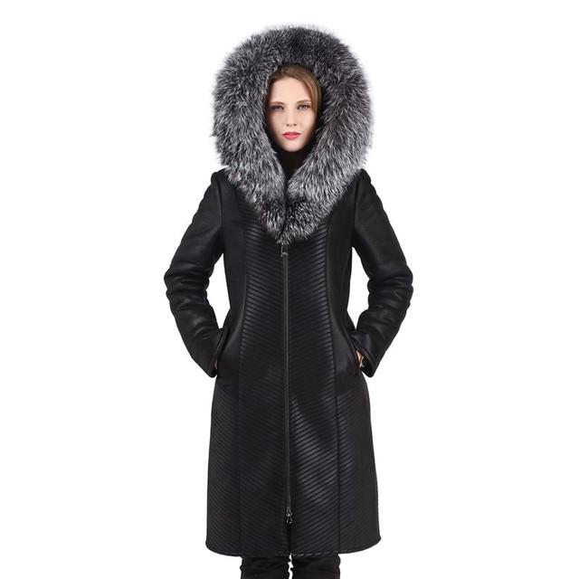 f723724dace Women's Warm Winter Hooded Coat With Real Fox Fur Trim Hood Double-face Fur  Coat