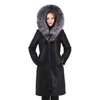 Women's Warm Winter Hooded Coat With Real Fox Fur Trim Hood Double face Fur Coat Female Slim Fit Women Elegant Faux Fur Coat