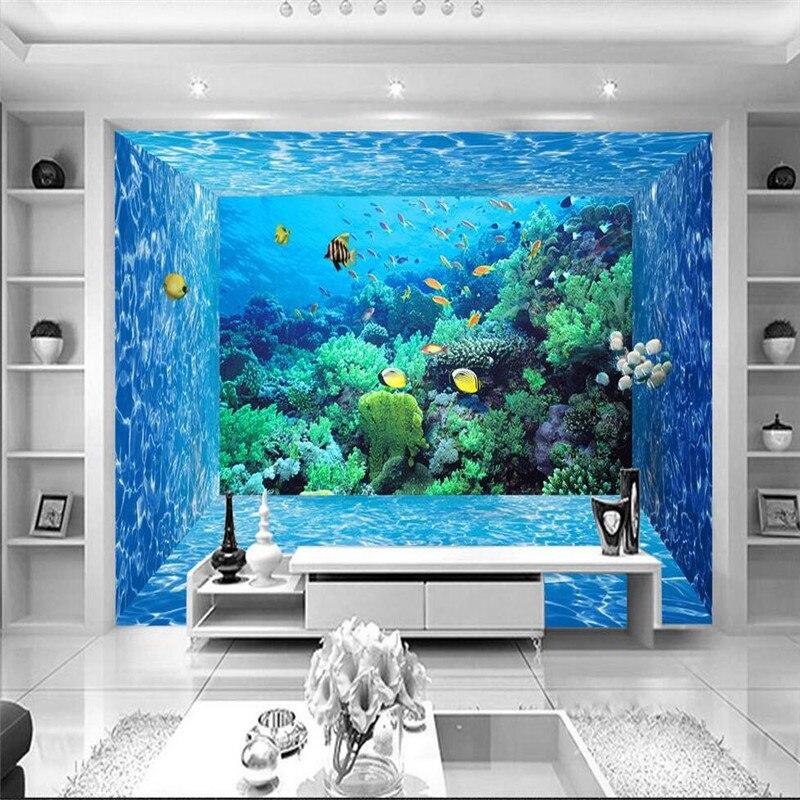 Wallpaper Living Room Marine World Creature Coral Aquarium Wall ...