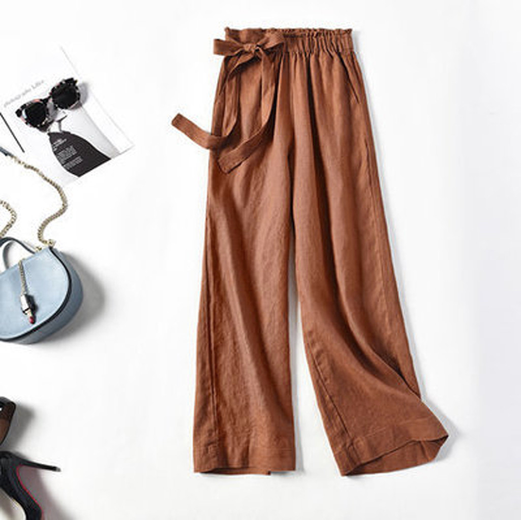 Summer Hot Sale Solid   Wide     Leg     Pants     Pants   Bow Ankle Length   Pants   Women's High Waist Stylish Loose   Pants