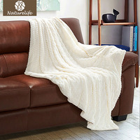 Naturelife Faux Fur Blanket warm soft fleece blankets throw on Sofa Bed Plane Plaids Solid Bedspreads Reservible Blanket