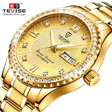 TEVISE Fashion Mens Golden Luxury Diamond Rhinestone Steel B
