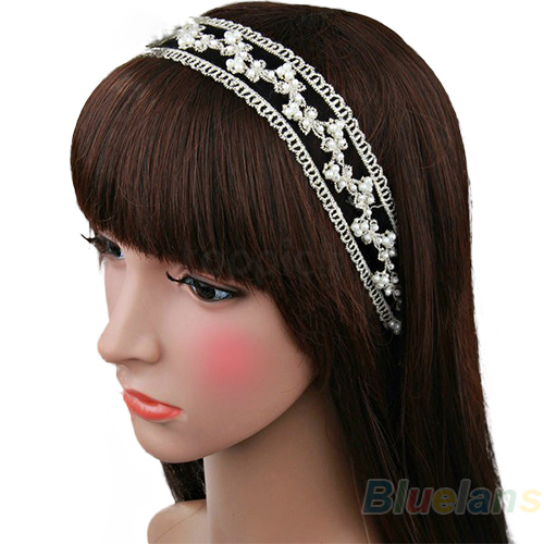 Min. 1pc Fashion Women Lace Pearl Beads Headhand Hairband Hair Head Band Headwear Accessories BXB3 ...