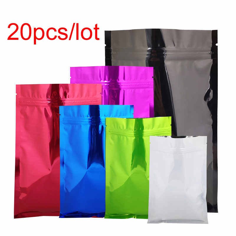20Pcs/lot Colorful Mylar Aluminum Foil Zip Lock Bags Storage Bags 10 Color Tea Pouches Food Storge Bag Pouch With Zipper