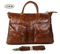 J.M.D High Quality Real Leather Brown Office Briefcase Business Handbag Classic Travel Bag Portable Laptop Shoulder Bag 7241B